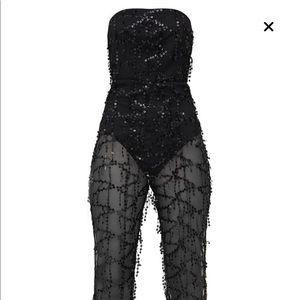 Black sequin see through bottom strapless jumpsuit
